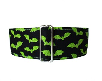 2 Inch Martingale Collar, Halloween Martingale Collar, Lime Green Martingale Collar, Bats, Greyhound Collar, Halloween Dog Collar