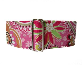 1.5 Inch Martingale Collar, Pink Martingale Collar, Martingale Collar Greyhound, Pink Dog Collar, Whippet Collar