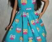 "Handmade 10.5"" teen sister fashion doll clothes - aqua owl dress"