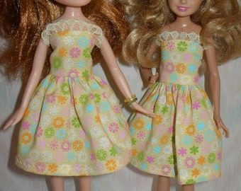 """Handmade 9"""" little sister fashion doll clothes - yellow floral print dress"""