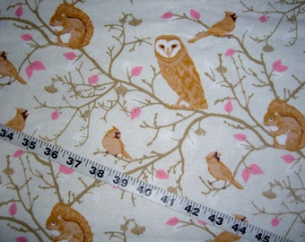 """Wildlife Flannel fabric with owls birds tree branches blossoms cotton print quilt sewing material to sew crafting 34"""" x 43"""" remnant quilter"""