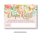 Diaper Raffle Card,  Baby Shower Raffle, Floral Baby Shower, Sip and See, Baby Shower Invitation Insert  - Instant download  0501