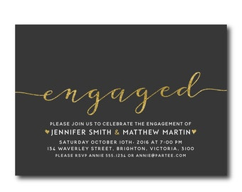 Engagement Party Invitation | Black and Gold |  Engaged Invitation | Party Invitation | 2704