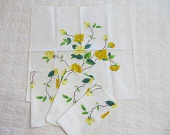Vintage Wilendur Yellow Roses Napkins-Set of 4