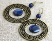Navy Accents - Antique Brass Midnight Denim Indigo Navy Blue Stone Mother of Pearl Shell Accent - Big Large Circle Hoop Dangle Boho Earrings