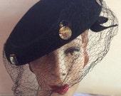 Vintage 1930s 1940s Hat Black Tilt Large Metal Discs Veil New York Creations Label