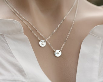 Sale-Double Layered small circle initial necklace,Silver or gold or rose gold,double Monogram initials,sister necklace,mother of two,couple