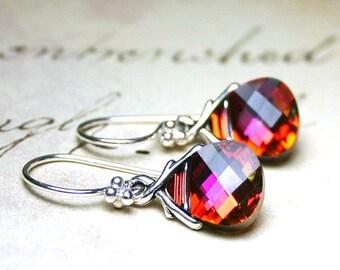 ON SALE Swarovski Briolette Earrings in Crystal Cathedral - Pink and Orange - Sterling Silver and Swarovski Crystal