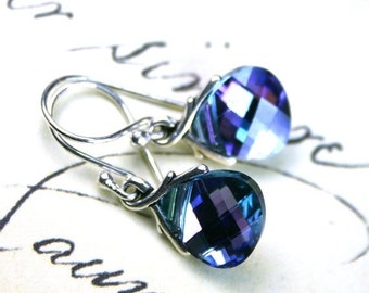 ON SALE Briolette Crystal Earrings in Blue and Purple - Aqua Vitrail Light - Handmade with Swarovski Crystal and Sterling Silver