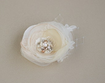 Champagne hair flower Wedding hair Flower  Champagne hair piece Bridal hair piece Flower hair accessories Bridal hair flower