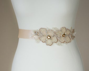 Rose Gold Bridal sash, Wedding belt, Champagne Wedding dress belt, wedding belts sashes, Bridal dress sash, Floral bridal sash