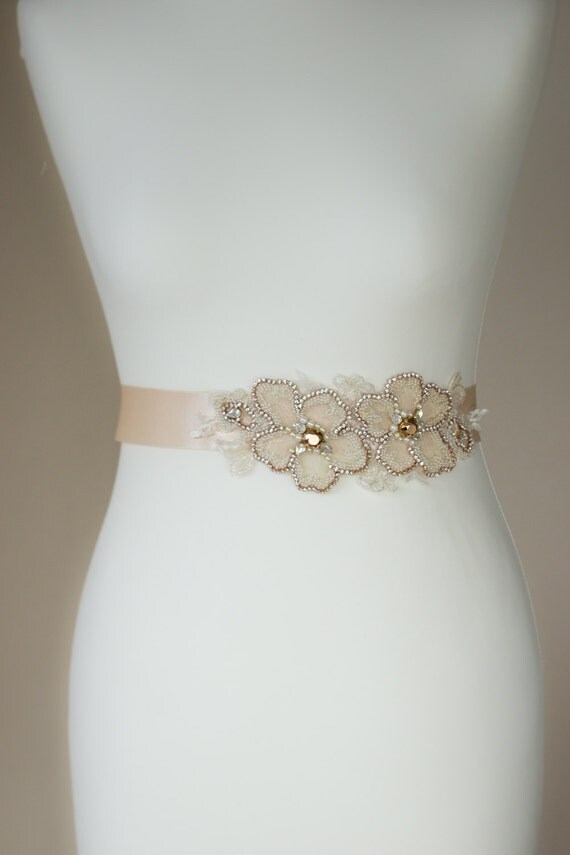 Rose gold bridal sash wedding belt champagne wedding dress for Gold belt for wedding dress