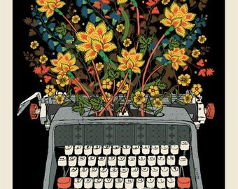 Floral Typewriter screen print