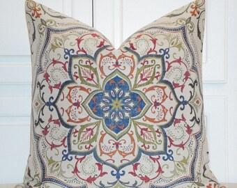 Decorative Pillow Cover - 24 x 24 - Medallion Design In Navy Raspberry Orange Green - Accent Pillow - Euro Sham - Sofa Pillow - Bed Pillow
