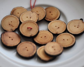 set  of 15 linden wooden buttons