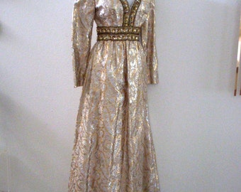 Vintage 60s 70s Metallic Gold Evening Dress - Brocade Gold Silver Sequin Maxi Dress - Gold Hostess Gown - 1960s 1970s - Medium to Large