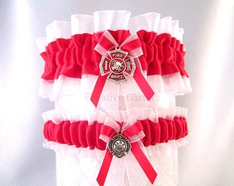 Firefighter Wedding garter set - Firefighter Maltese Cross Garters - Red line Firefighter Garters - Firefighter Garter Belt set.
