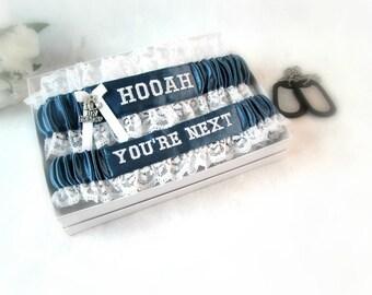 Military Wedding Garters -  Army Bridal Garter Set - Keepsake and Toss Garter Set - Something Blue - Bridal Shower Gift Set.