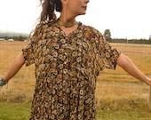 Vintage 90s Sheer Flower Babydoll Maxi Grunge Dress