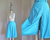 vintage 1950s/60s culotte pants - SKY HIGH turquoise blue wide leg pants / S