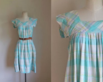 vintage plaid dress - SPRINKLER MIST blue cotton day dress / S/M