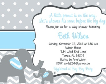 Elephant Baby Shower Invitation, Elephant Baby boy Shower, blue, chevron, DIY Printable file - customization included.