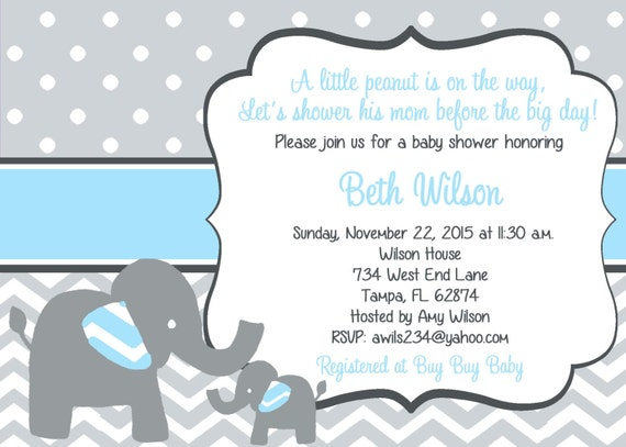 elephant baby shower invitation elephant baby boy shower blue