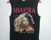 2 Sided Concert T Shirt / Tour Tee / Muscle T Shirt / Singer/ Pop Star / Dancer /Black Tee/ Distressed / Unisex / Men / Women