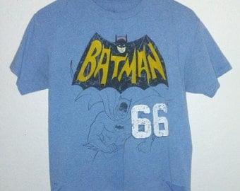 Crop Top / Batman T Shirt / Graphic Tee / Distressed / Light Blue / Festival / Indie / Grunge / Rock N Roll / Cool Cute Tee