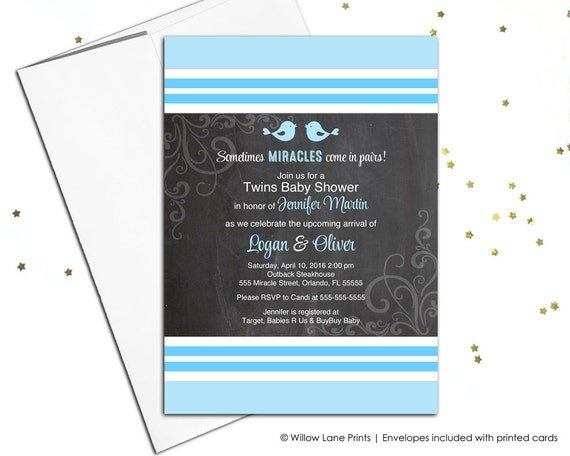 Twin boy baby shower invitations - bird baby shower invite twins - chalkboard - printable or printed - WLP00769