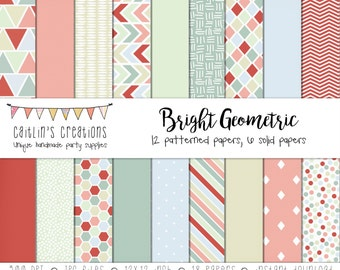 Digital Scrapbook Paper  - Geometric Designs, Patterned Paper, Solid Colored Paper - INSTANT DOWNLOAD