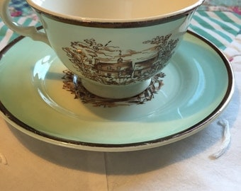 Vintage 2 Piece Tea Cup Set Old Virginia American Limoges Made in The USA #3745