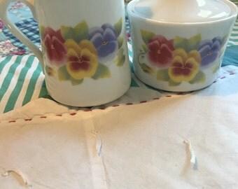 Vintage Creamer and Sugar Bowl Summer Blush Pansy Corningware Made in The USA #3804