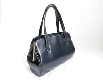 NAVY BLUE VINYL 1970's Purse Handbag