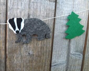 Badger garland, badger bunting, felt badger, badger gift, Badger art, Honey Badger, Woodland Animal, Woodland nursery decor Hufflepuff