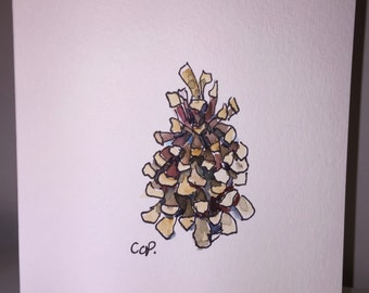 Pine Cone Watercolor Card / Hand Painted Watercolor Card
