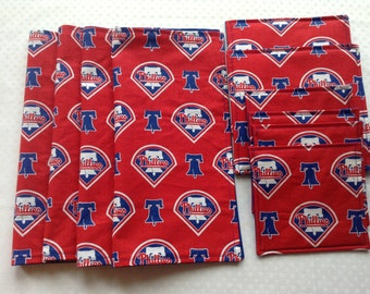 Philadelphia Phillies Game Day Baseball Table Linens, 4 Napkins, 4 Fabric Coasters, 2 Thermal Hot Pads, Handmade, Indoor/Outdoor Use