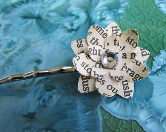 Book Page Flower Hairpin (Rhinestone Center - Assorted Colors)