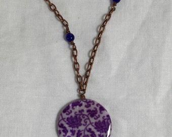 Floral Disc Copper Necklace