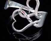 Fork Bracelet, Eco Friendly Sustainable Recycled Jewelry in Intertwining Hearts Design