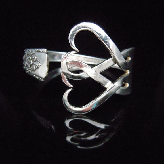 Fork Bracelet, Bridesmaid Jewelry, Vintage Wedding, in Intertwining Hearts Design Number Two