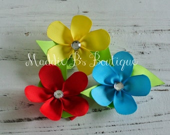 Ribbon Flowers-3 pack-Red Turquoise Yellow flowers-made by Maddie B's Boutique on Etsy
