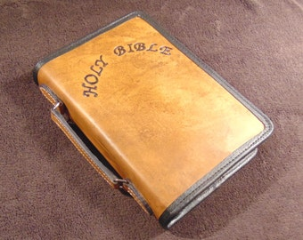 """Leather Bible Case, """"HOLY BIBLE"""" Hand-Carved on Front,  Zippered, w/ Carrying Handle, Pigskin Lining, and Pockets"""