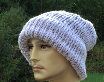 Knit chunky hat / Mens beanie hat with brim \  Beanie with brim / Mens winter hat / Gray men's hat / knit slouchy hat / Ready to Ship