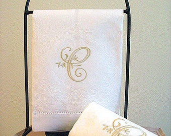 Set of 2 Monogrammed Guest Towel, Damask Design Cotton with Peony Design 1-Initial Monogram