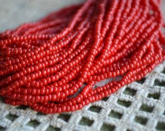 11/0 Hank Seed Opaque Red Beads Preciosa Czech Glass Seed Beads