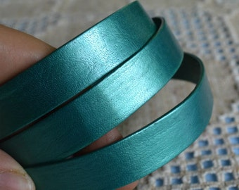 "32"" of 15mm Genuine Metallic Truly Teal Flat Leather Lace Cord Wide Strap Lace"