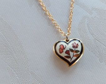 Heart Necklace, Cloisonné Heart, Vintage Heart Jewelry, Gift for Her