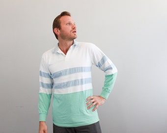 Vintage Mens Polo Long Sleeve Shirt by St Johns Bay