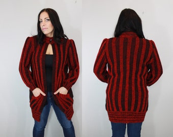 Vintage Red and Black Knitted Slouchy Sweater Cardigan Jacket